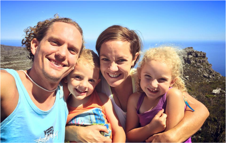 Our family-selfie on the top of Table Mountain.