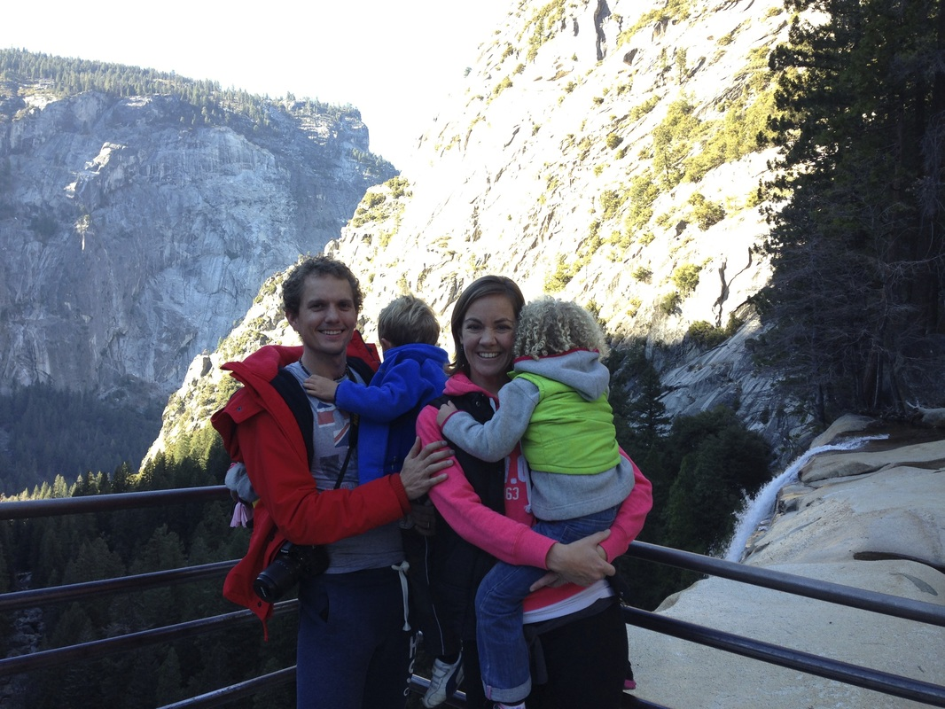 The children don't always play ball for pictures. At the top of Vernal Falls, Yosemite.