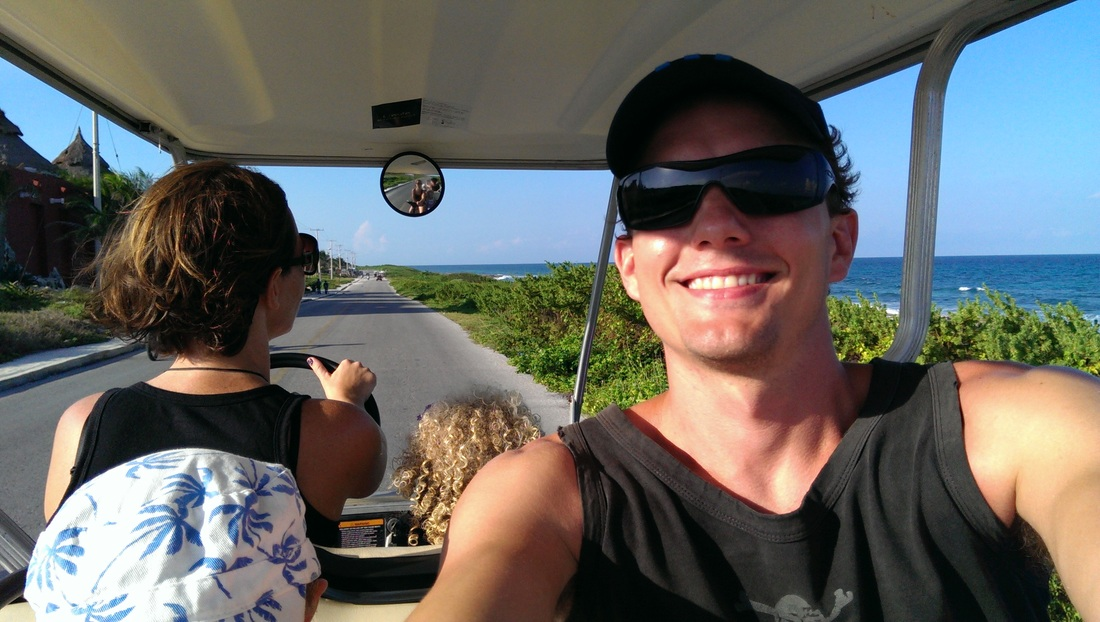 Zooting around Isla Mujeres in our golf cart. Such fun!