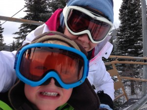 Me and Linky on the chair lift heading up for our first ski of the day... and then my phone battery died!