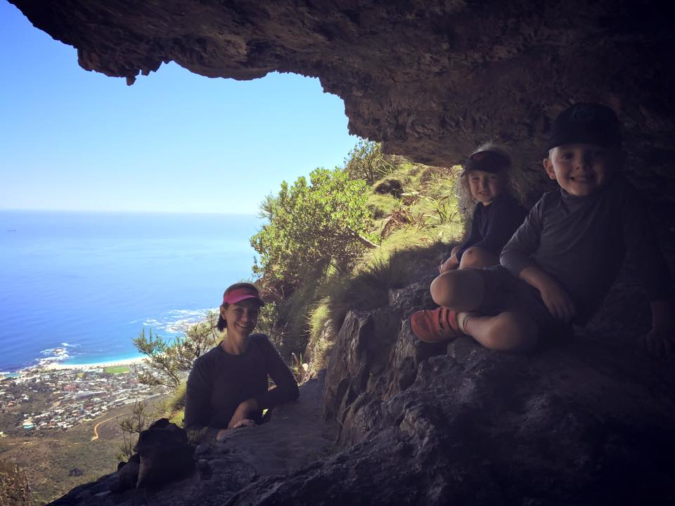 Regrouping in a cave half way down our climb.