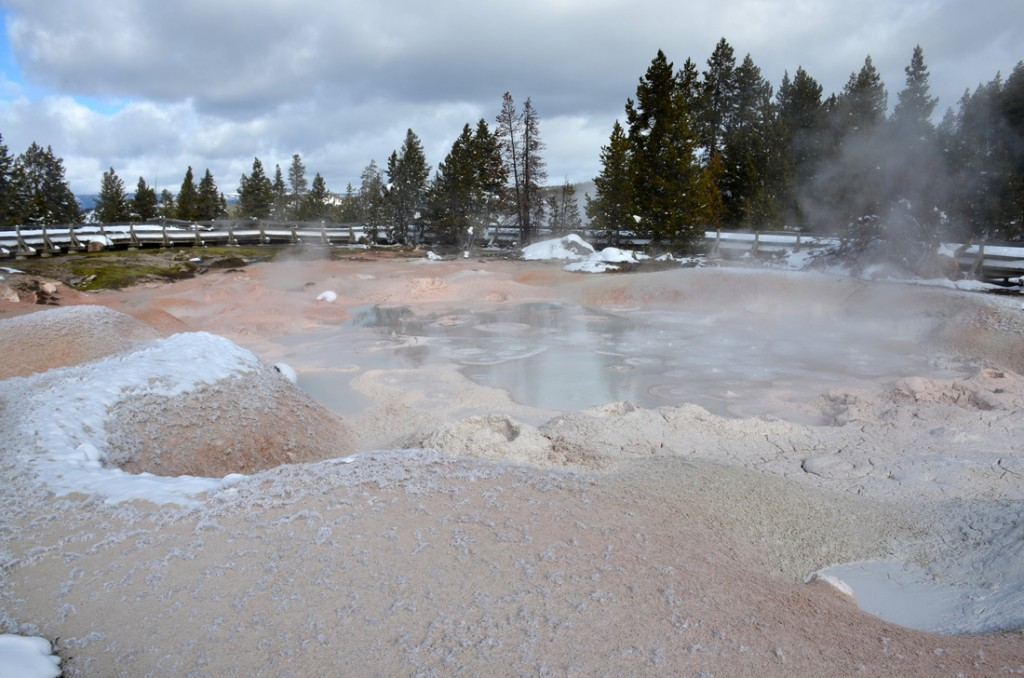 A bubbling sulphur mud pit, with incredible ice sculptures that get spat out the mud.