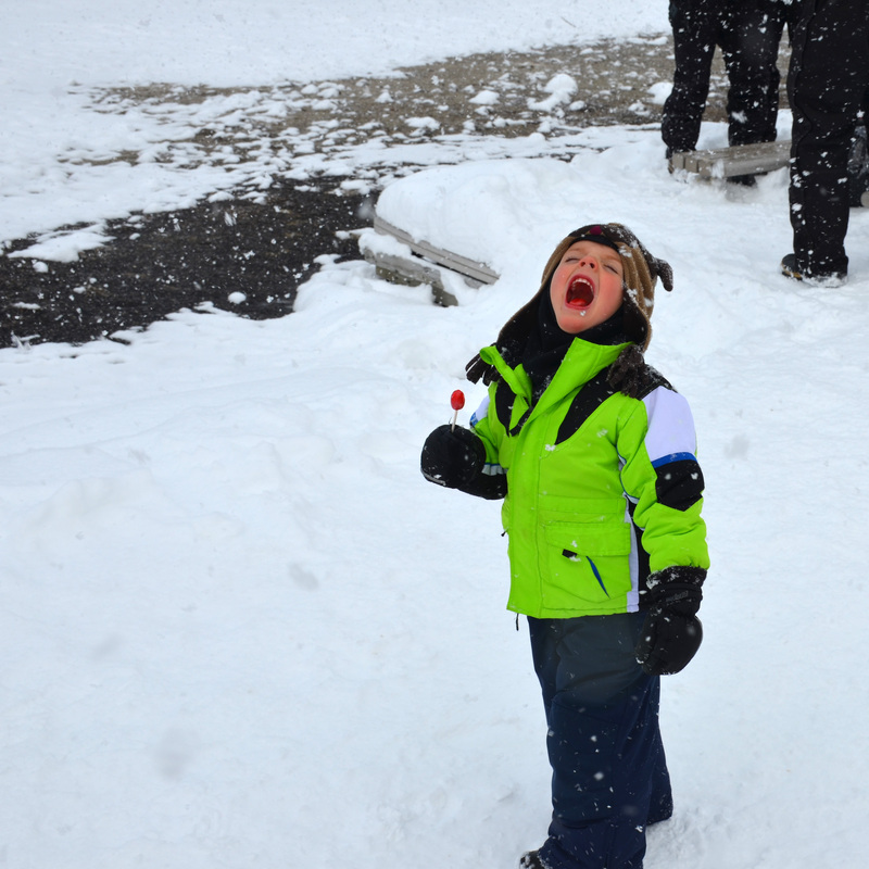 Catching snowflakes.