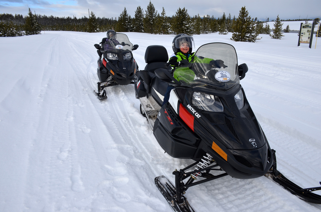 Lola and Linky ready to hit the road on their snowmobiles :)