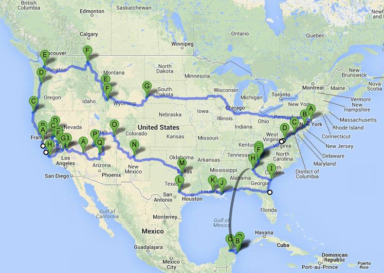 What our final route looked like. 5 months. 24 000km's.