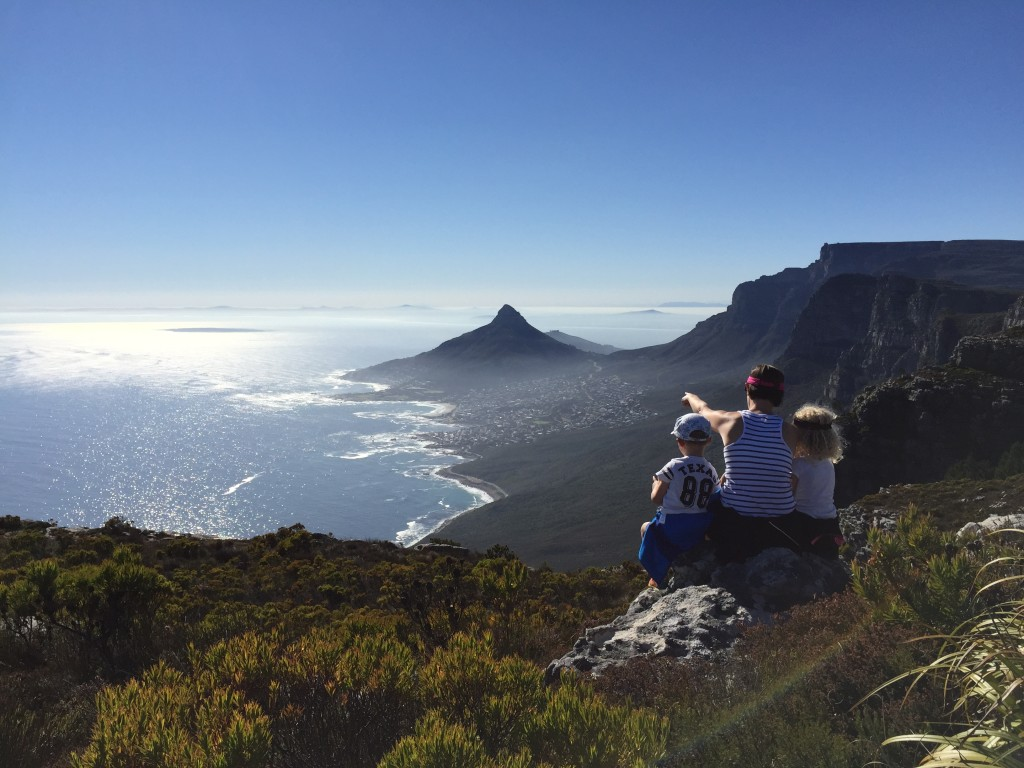 Pointing out Cape Town's landmarks.