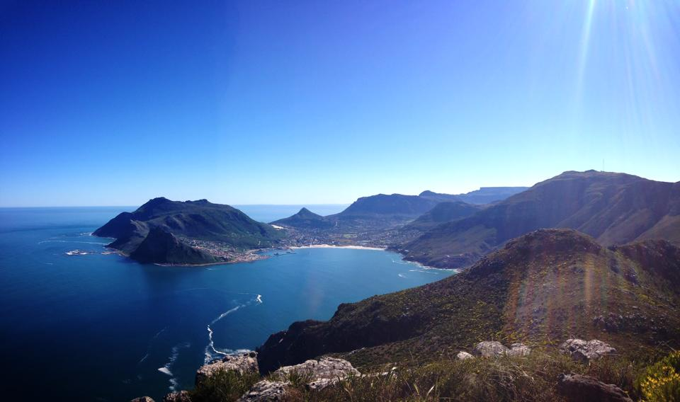 The view over Hout Bay from the top of the Chapmans Peak climb, above Noordhoek.