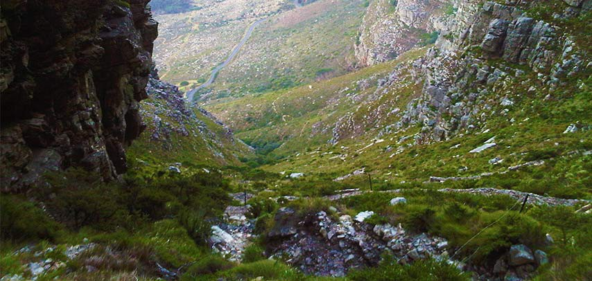 Looking down Platteklip Gorge.